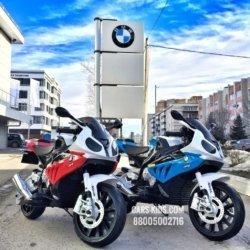 Электромобиль мотоцикл BMW S1000PR (колеса резина, кресло кожа, музыка)