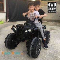 Электроквадроцикл Grizzly 4WD черный (полный привод, колеса резина, сиденье кожа, пульт, музыка)