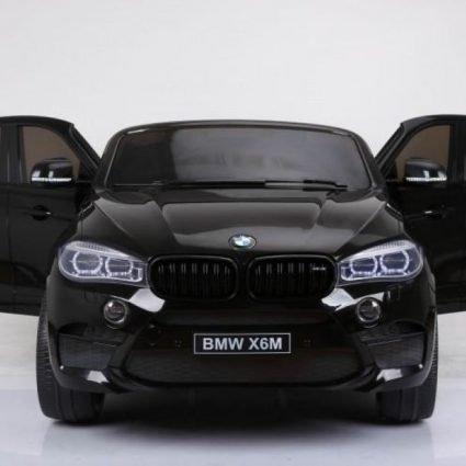 Детский электромобиль BMW X6M Black 12V - JJ2168 (2х местный, колеса резина, кресло кожа, пульт, музыка)