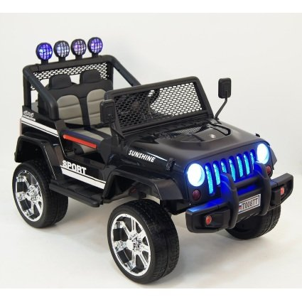 Электромобиль Jeep S2388 4WD черный (2х местный, полный привод, колеса резина, кресло кожа, пульт музыка)