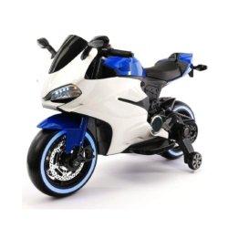 Детский электромотоцикл Ducati 12V - FT-1628 бело- синий (колеса резина, сиденье кожа, музыка, страховочные колеса)