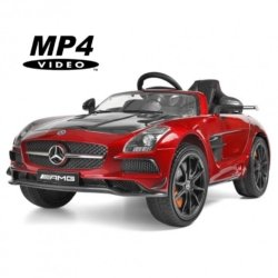 Электромобиль Mercedes-Benz SLS AMG Carbon Edition MP4 красный (сенсорный дисплей, кресло кожа регулируется, колеса резина, пульт, музыка)